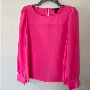 J. Crew hot pink long sleeve blouse